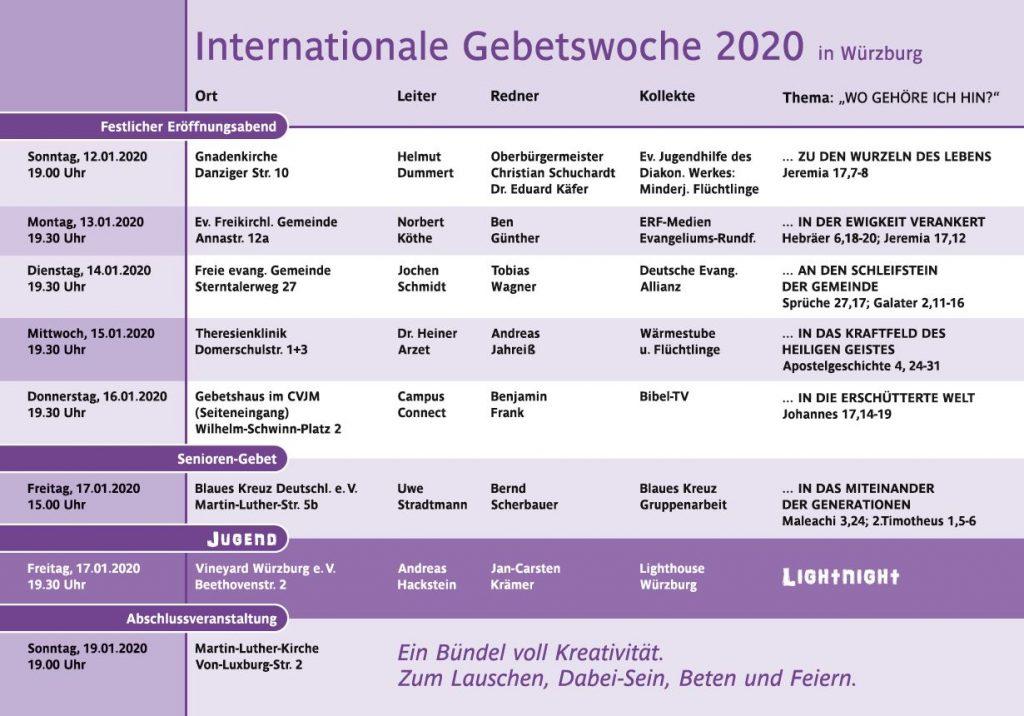 Internationale Gebetswoche Würzburg 2020